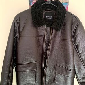 Faux leather borg collar jacket